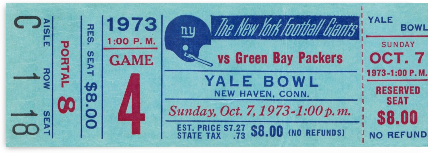 1973 New York Giants vs. Packers by Row One Brand