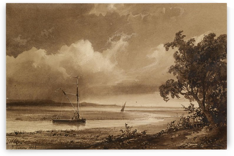 Riverscape with Boats by Jean Antoine Theodore de Gudin
