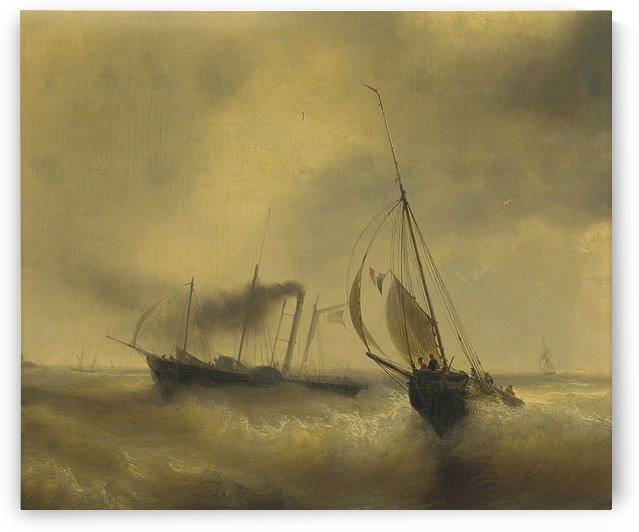 A paddle steamer passing a French fishing vessel in rough waters by Jean Antoine Theodore de Gudin