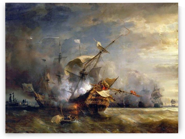 Naval Combat off Cape Lizard in Cornwall, 21 October 1707 by Jean Antoine Theodore de Gudin