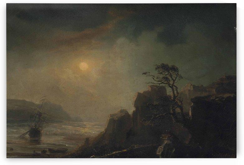 A fishing vessel in a moonlit bay by Jean Antoine Theodore de Gudin