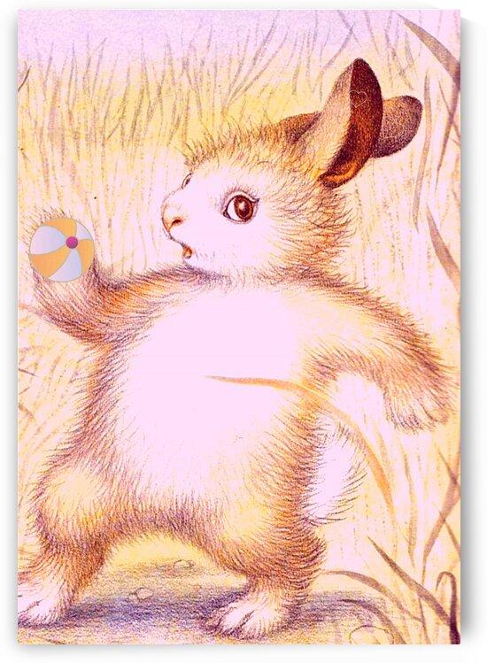 Nursery Rabbit Playing with Ball by LeGustavienne