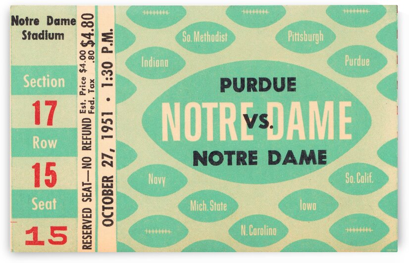 1951 Notre Dame vs. Purdue by Row One Brand