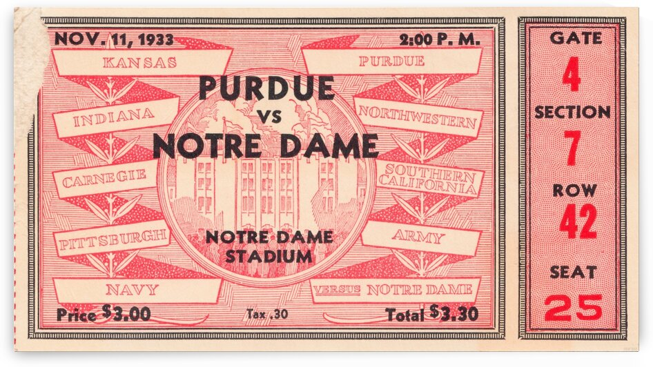 1933 Notre Dame vs. Purdue by Row One Brand