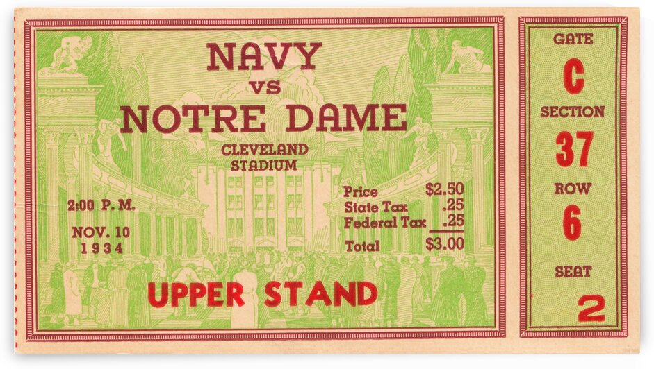 1934 Notre Dame vs. Navy  by Row One Brand