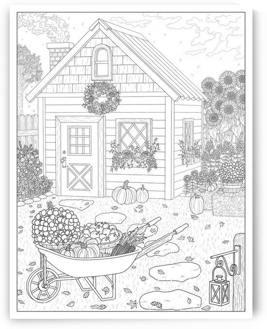 Autumn Cottage Coloring Page by Dream Ripple