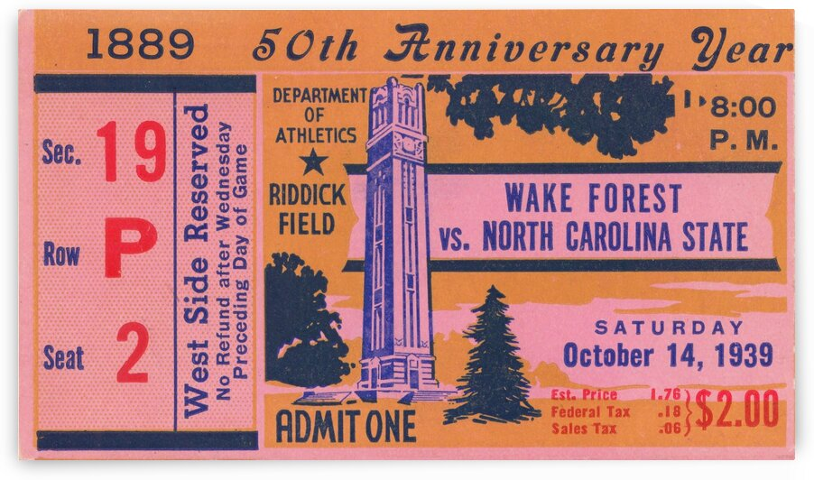 1939 NC State vs. Wake Forest by Row One Brand