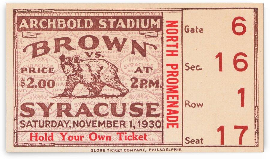 1930 Syracuse vs. Brown by Row One Brand