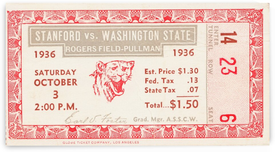 1936 Washington State vs. Stanford by Row One Brand