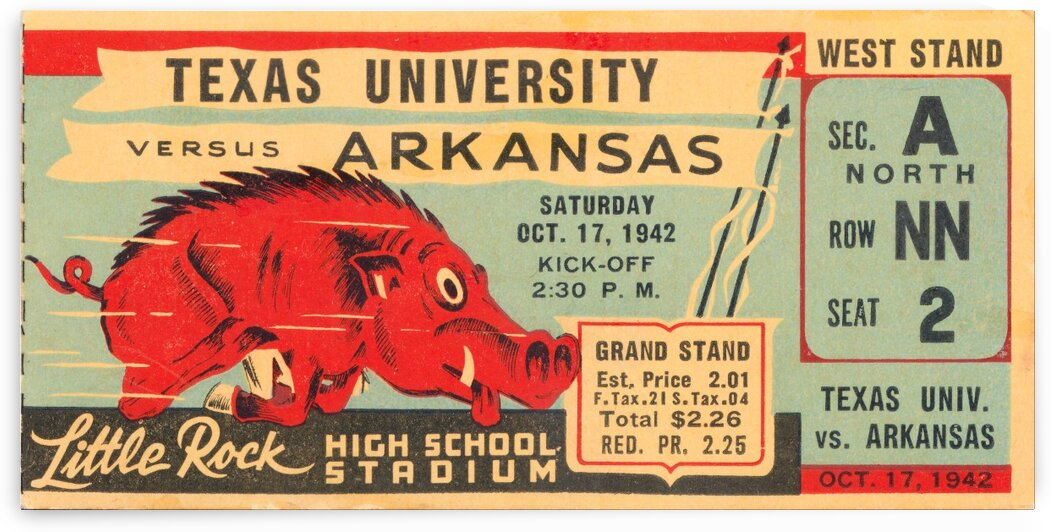 1942 Arkansas vs. Texas by Row One Brand