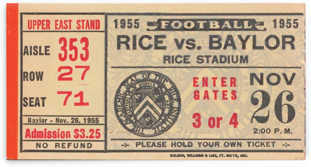 1955 Rice vs. Baylor by Row One Brand