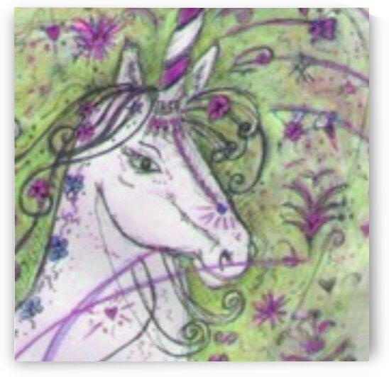 Unicorn Carousel Roundabout Original Watercolour on Canvas by LeGustavienne
