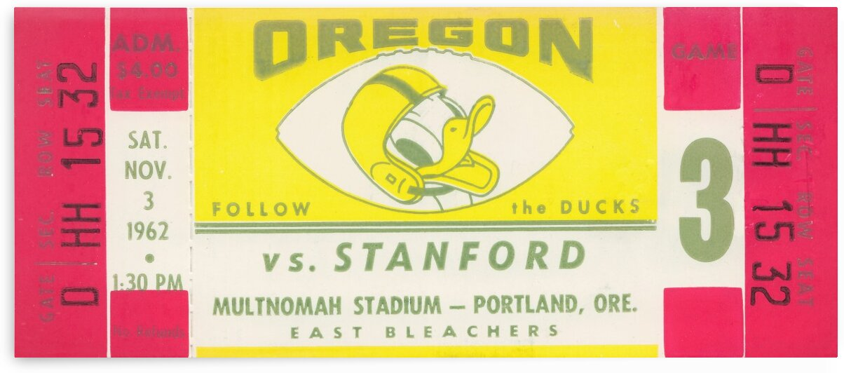 1962 Oregon vs. Stanford by Row One Brand