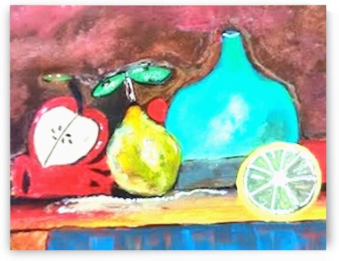 Blue Vase and Fruit by dawnrettew