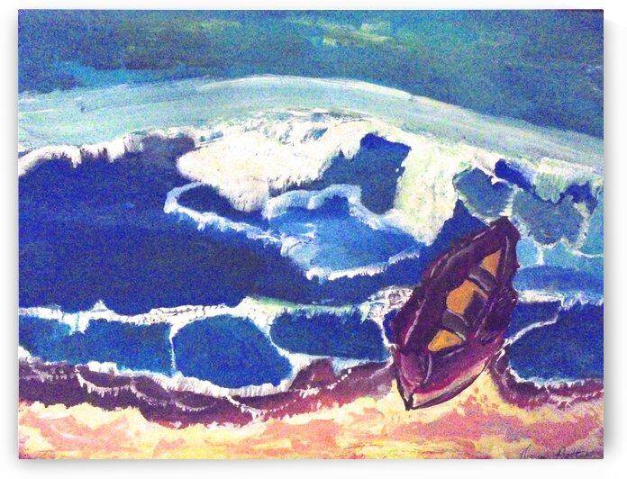 Boat in Surf by dawnrettew