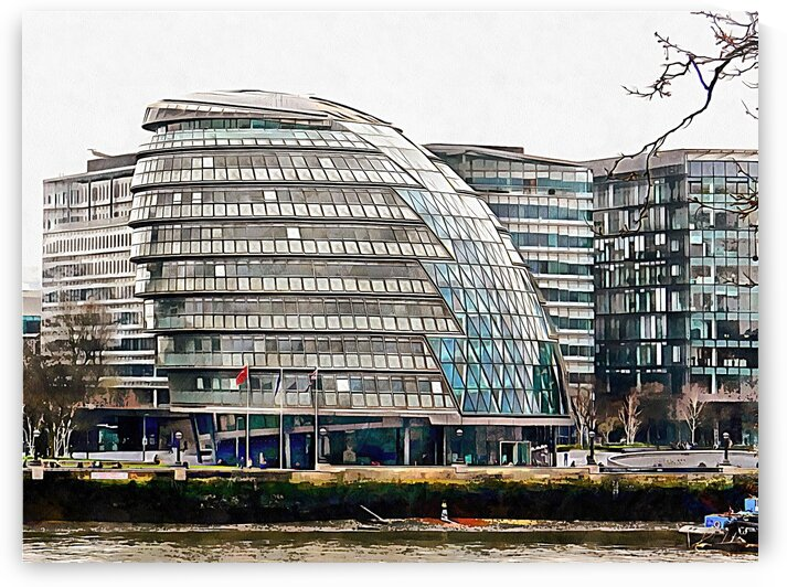 City Hall River Thames Waterfront London by Dorothy Berry-Lound