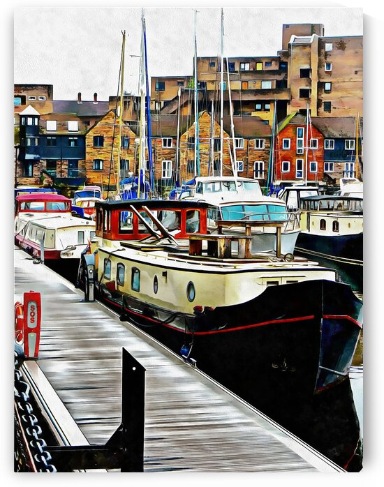 Moored Barge St Katharine Docks by Dorothy Berry-Lound