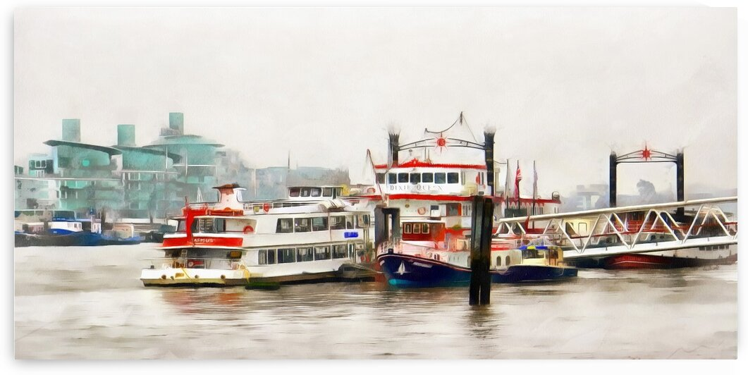 Picturesque Boats Moored On The River Thames by Dorothy Berry-Lound