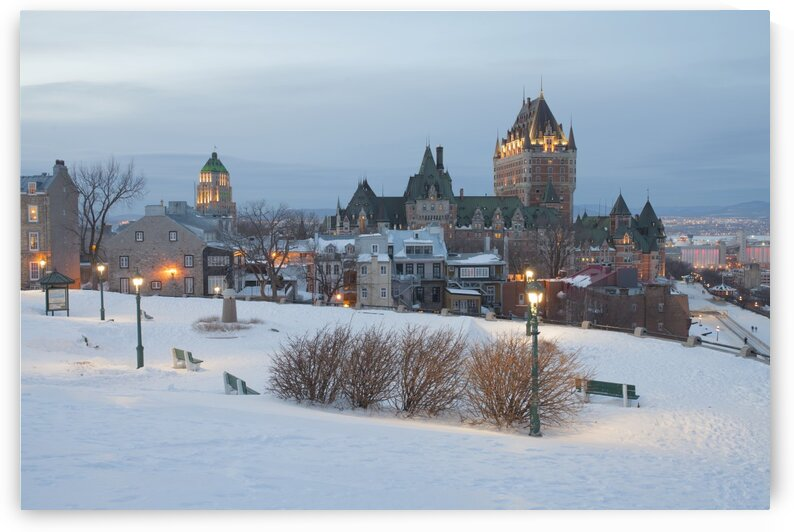 Chateau frontnac at night Quebec city Quebec Canada by Atelier Knox
