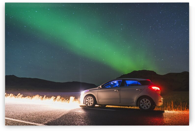 Northern lights at midnight Vik Southern region Iceland by Atelier Knox