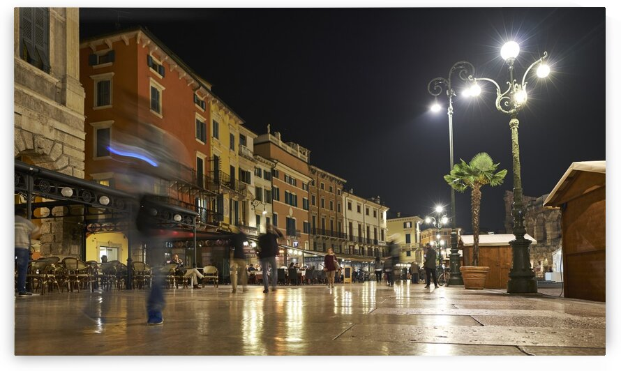 Tourists walking around Piazza bra at night Verona Italy 2017 by Atelier Knox