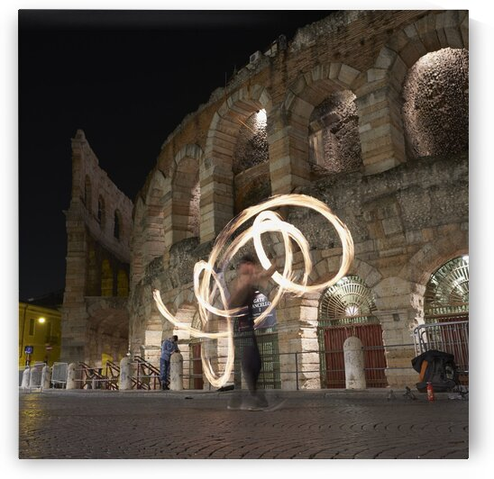 Fire dancers in front of Arena di Verona Italy 2017 by Atelier Knox