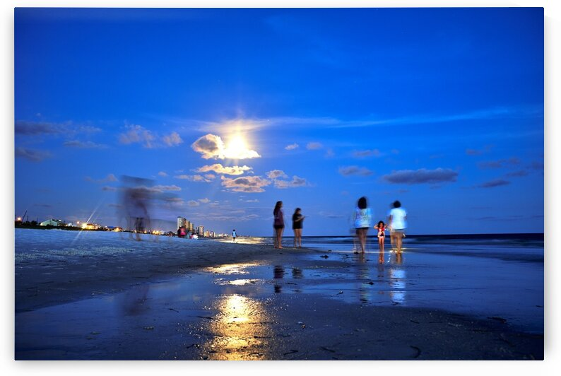 Abstract of tourists at the beach at night Panama city beach Florida USA 2019 by Atelier Knox