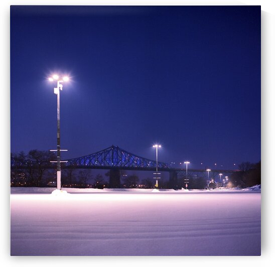 Empty parking lot covered with fresh snowfall Montreal Quebec Canada by Atelier Knox