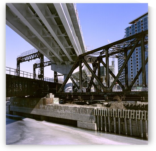 Intersection of historical old bridge with new bridge construction in the Peel Basin by Atelier Knox