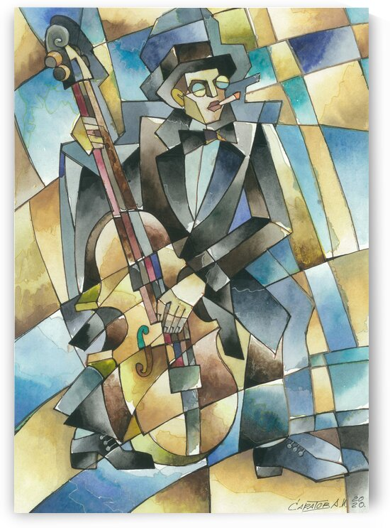 double bass player-Jazz series by Andrey Saratov