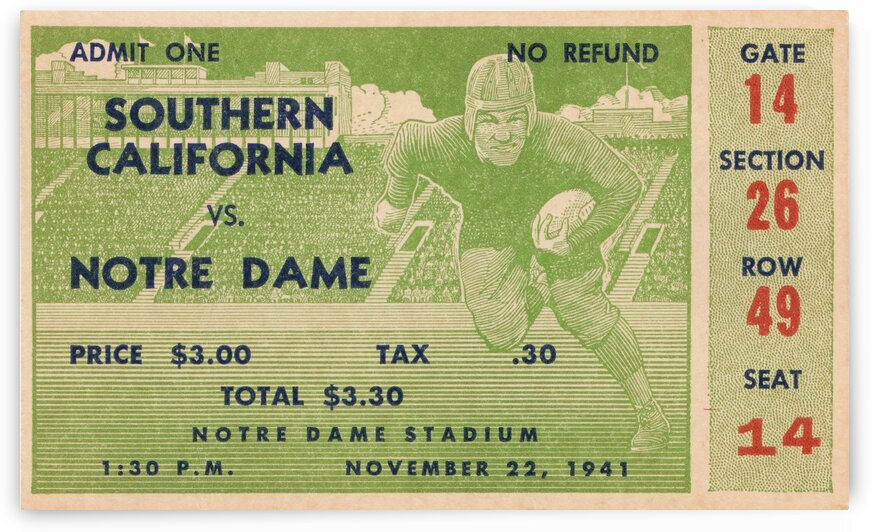 1941 Notre Dame vs. USC by Row One Brand