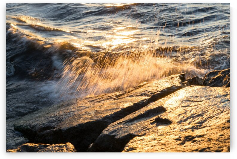 Golden Shower on the Rocks - Slo Mo Waves and Sunshine by GeorgiaM