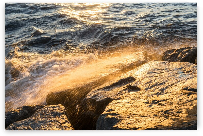 Golden Shower on the Rocks - Slo Mo Waves and Sunlight by GeorgiaM