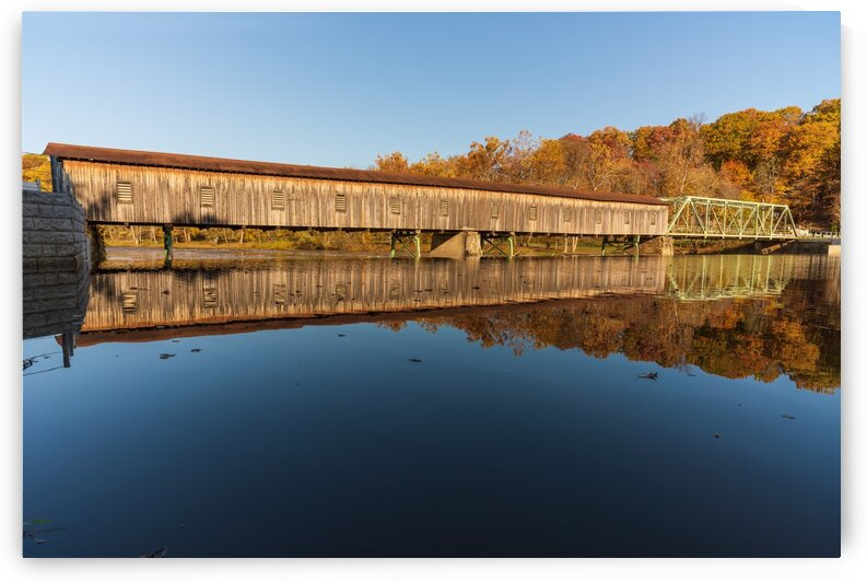 Harpersfield covered bridge and reflection Ashtabula County Ohio by The Feather Cottage