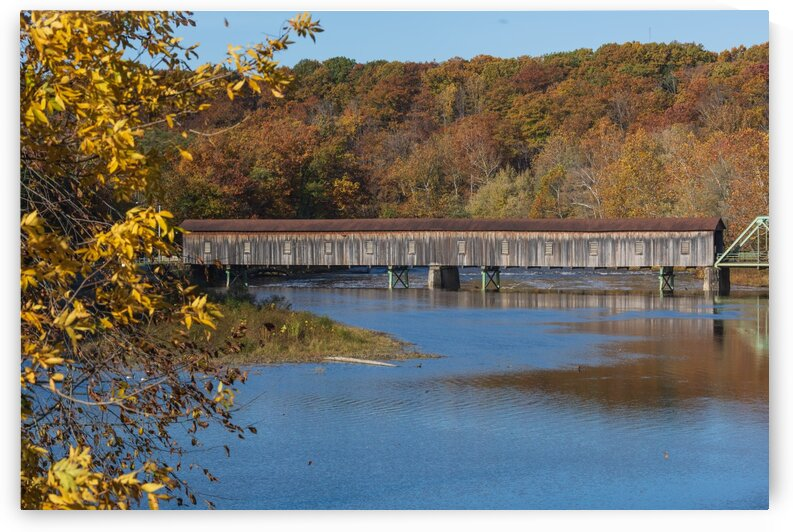 Harpersfield Ohio covered bridge in autumn by The Feather Cottage