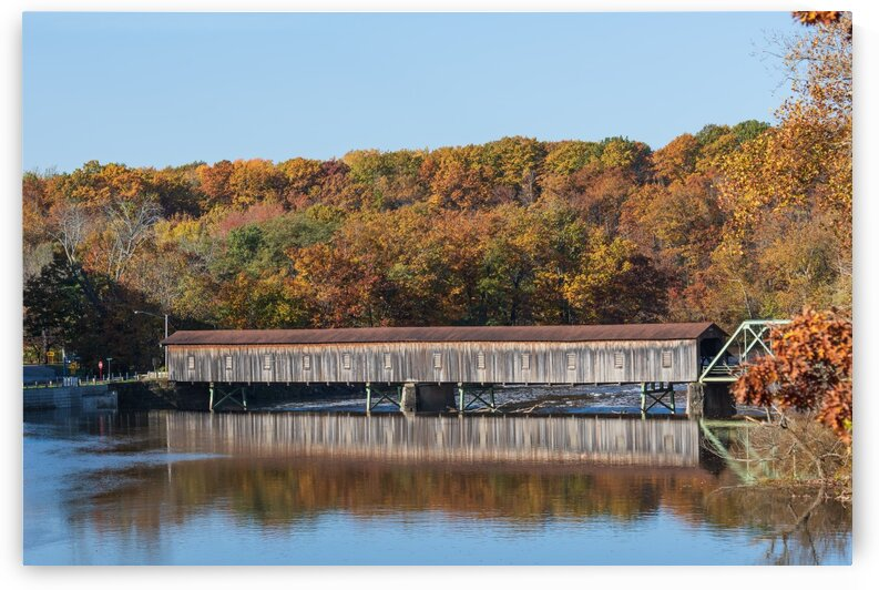 Harpersfield Ohio covered bridge autumn 2020 by The Feather Cottage