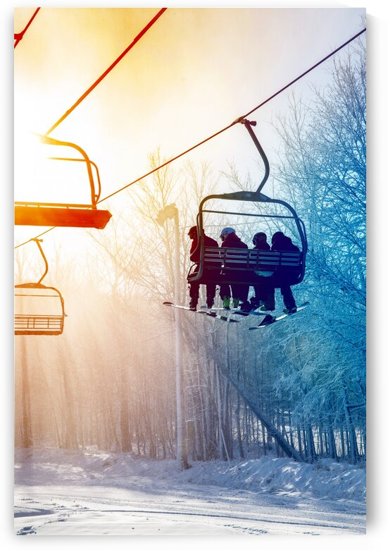 Against day of a ski lift during a snow blizzard by Francois Lariviere