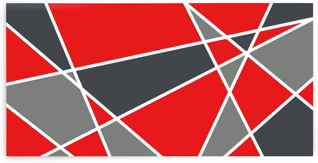 Red White Gray Triangles Geometric Art 102 RWG by Edit Voros