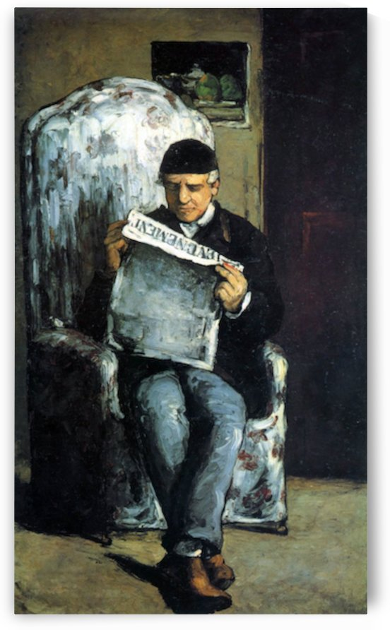 Portrait of Louis-Auguste Cezanne, the father of the artist, reading from L Evenement by Cezanne by Cezanne