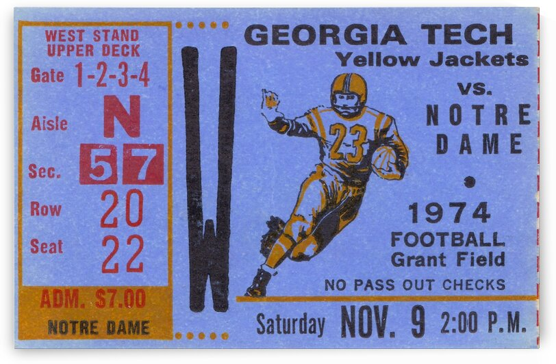 1974 Georgia Tech vs. Notre Dame by Row One Brand