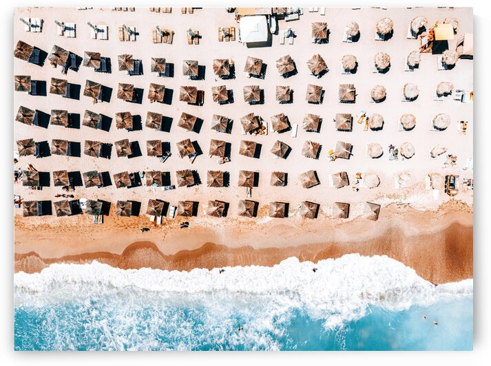 Aerial Beach Print Coastal Beach Australia Beach Umbrellas Aerial Photography Ocean Waves Waves Print Sea Print Modern Home Decor Art Print by Radu Bercan