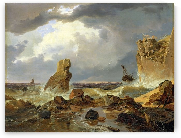 Surf on a Rocky Coast by Andreas Achenbach