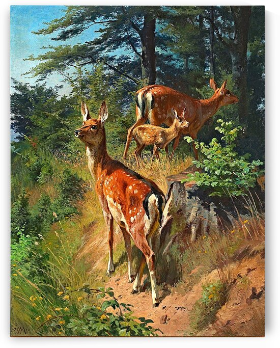 Forest Scene With Two Deer And A Fawn_OSG by One Simple Gallery