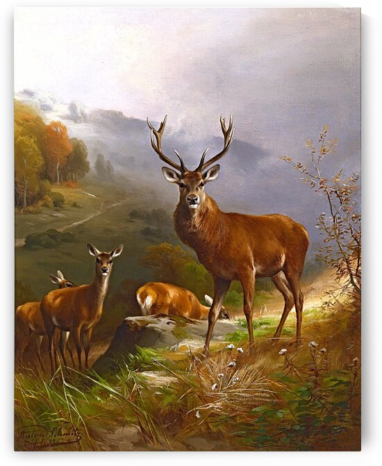 Mountain Scene With A Pack Of Deer_OSG  by One Simple Gallery