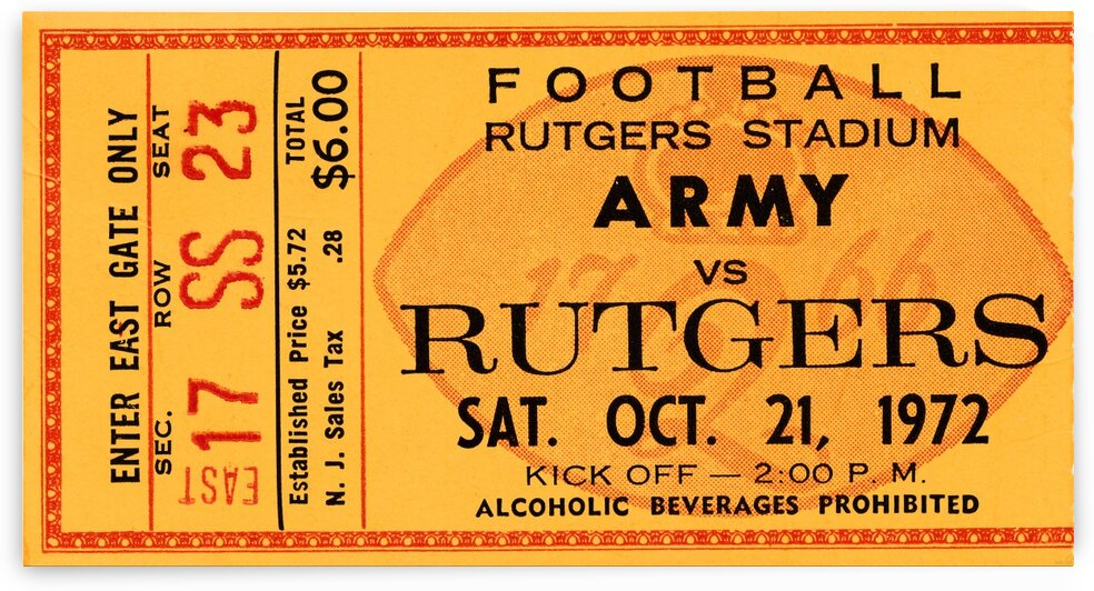 1972 army rutgers ticket by Row One Brand