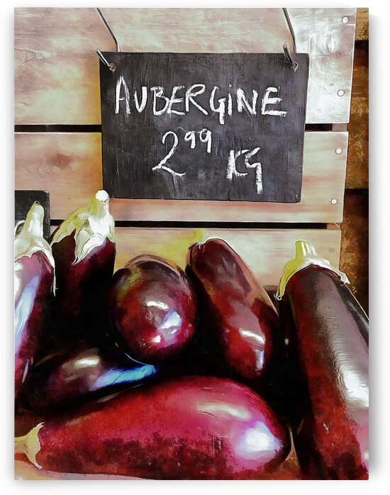 Aubergines Sale Display by Dorothy Berry-Lound