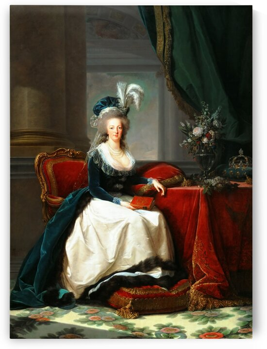 Vintage Painting of Marie Antoinette with a book by One Simple Gallery