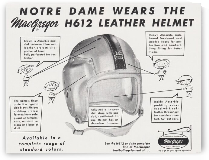 1956 Notre Dame Football Helmet Ad by Row One Brand