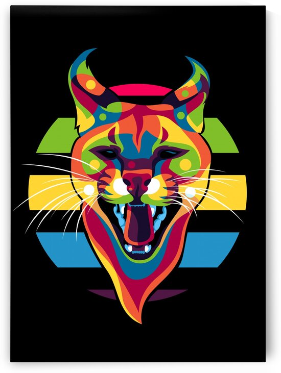 African Wild Cat Roaring Face by wpaprint