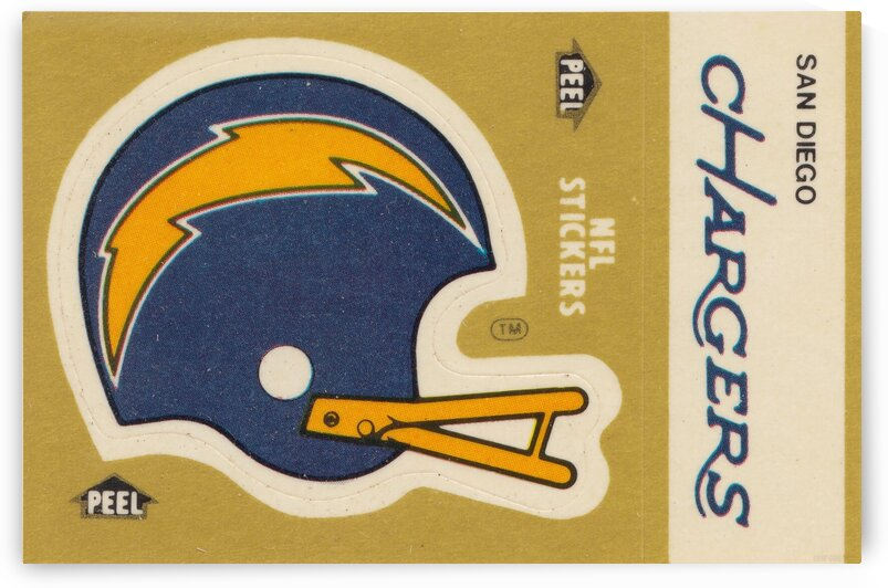 1982 Fleer Sticker San Diego Chargers Art by Row One Brand